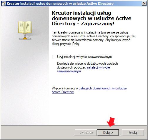 Rysunek 13. Widok kreatora instalacji usług domenowych wActive Directory.