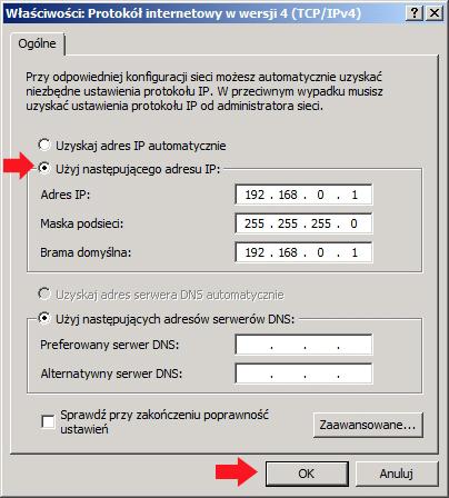 Rysunek 4. Definiowanie adresu ip. maski orazbramy.