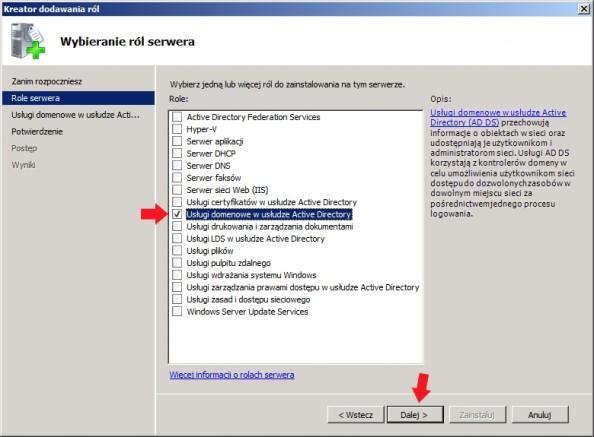 Rysunek 7. Zaznaczenie opcji Usługi domenowe wusłudze Active Directory.