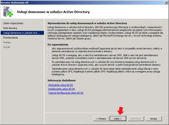 Rysunek 8. Okno wprowadzenia dousług domenowych Active Directory.