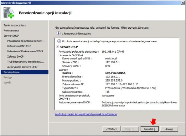 Rysunek 18. Podsumowanie opcji instalacji usługi DHCP.