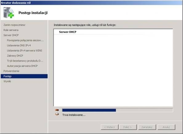 Rysunek 19. Postęp instalacji usługi DHCP.