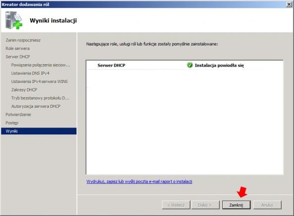 Rysunek 20. Wynik instalacji usługi DHCP.
