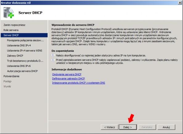Rysunek 8. Omówienie roli DHCP.