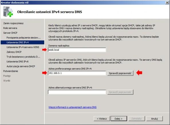 Rysunek 10. Określanie ustawień IPv4 serwera DNS.