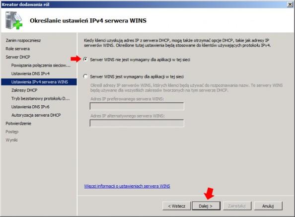 Rysunek 12. Określenie ustawień IPv4 serwera WINS.