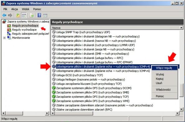 Rysunek 22. Włączanie reguły pozwalającej naodpytanie serwera zapomocą komendy ping.