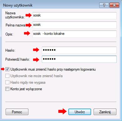 Rysunek 11. Okno definiowania nowego konta użytkownika.