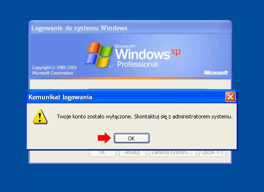 Rysunek 26. Zalogowanie się dosystemu zapomocą wyłączonego konta jest niemożliwe.