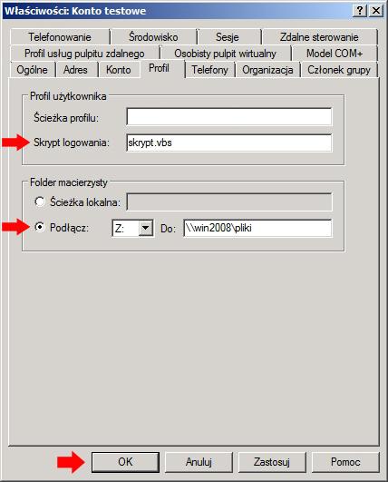 Rysunek 29. Zakładka profil - mapowanie udziałów sieciowych.