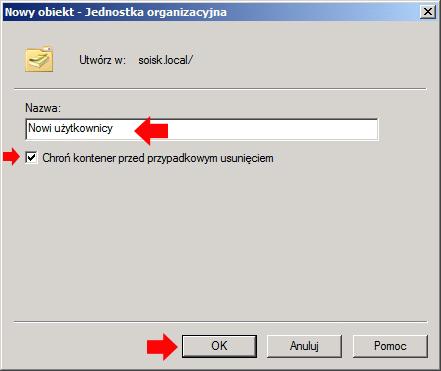 Rysunek 3. Definiowanie nazwy dla nowej jednostki organizacyjnej.