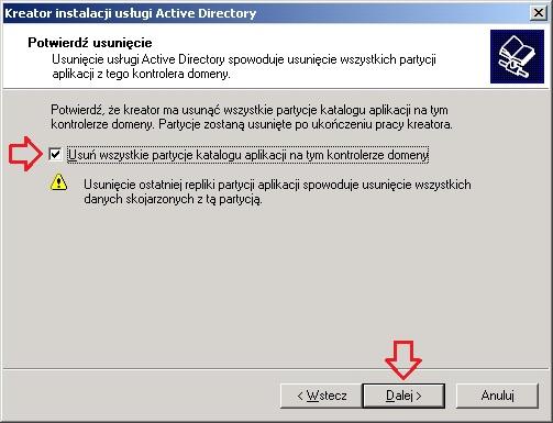 Rysunek 10. Usuwanie wszystkich partycji katalogu aplikacji.