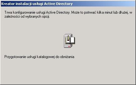 Rysunek 13. Przygotowanie usługi katalogowej dousunięcia.