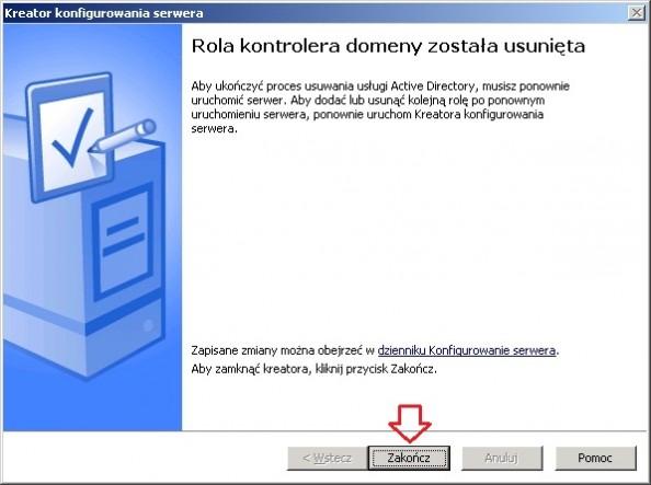 Rysunek 15. Rola kontrolera domeny została usunięta.