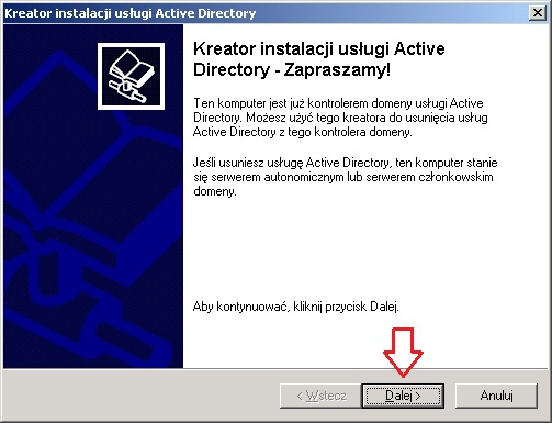 Rysunek 6. Kreator usuwania usługi Active Directory.