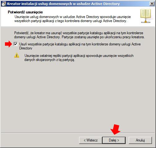 Rysunek 7. Usuwanie wszystkich partycji katalogu aplikacji.