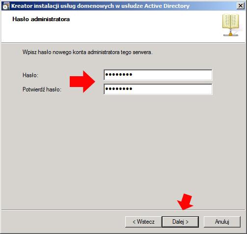 Rysunek 8. Definiowanie hasła dla konta administratora.