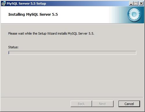 Rysunek 43. Proces instalacji MySQL servera został rozpoczęty.