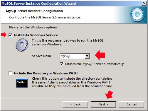 Rysunek 47. Instalacja serwera jako usługi systemowej.