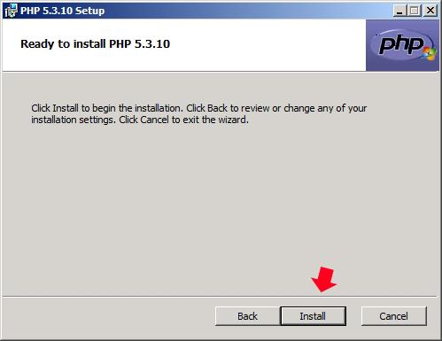Rysunek 20. Rozpoczęcie procesu instalacji języka PHP.