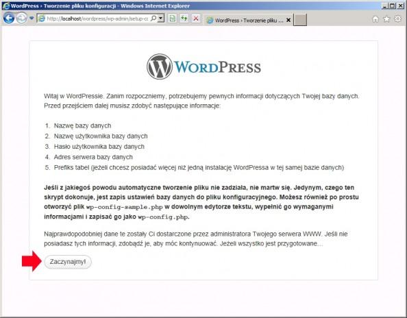 Rysunek 71. Rozpoczęcie procesu instalacji ikonfiguracji wordpressa.