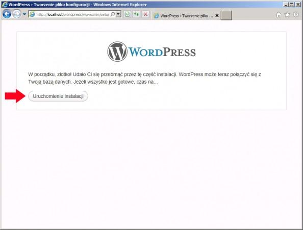 Rysunek 73. Rozpoczęcie procesu instalacji wordpressa.