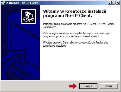 Rysunek 21. Uruchomienie kreatora instalacji programu No-IP.