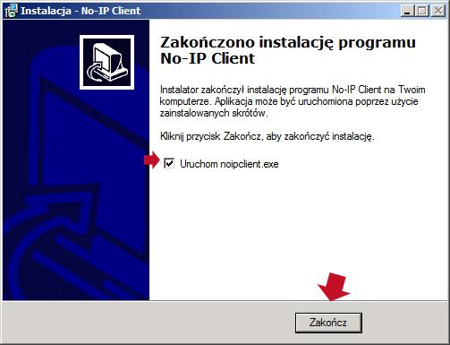 Rysunek 27. Zakończenie procesu instalacji klienta no-ip wsystemie Windows Server 2008.