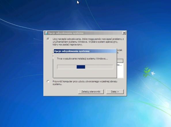Rysunek 16. Proces poszukiwania systemu Windows 7 na dysku komputera.