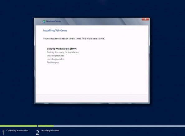 Rysunek 10. Rozpoczęty proces instalacji systemu Server 2012 Release Candidate.