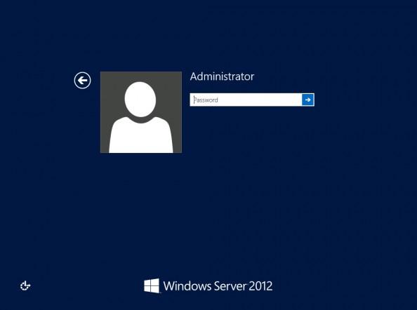 Rysunek 14. Widok okna logowania dosystemu Windows Server 2012 Release Candidate.