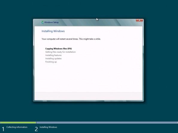 Rysunek 12. Rozpoczęty proces instalacji systemu Windows 8 Release Preview.