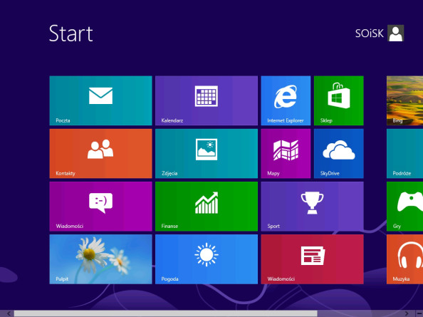 Widok menu systemu Windows 8