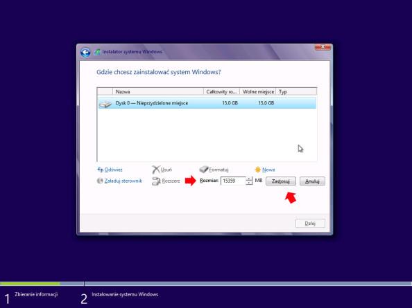 Tworzenie partycji przeznaczonej podinstalację systemu Windows 8
