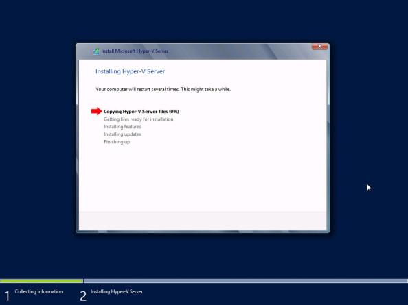 Proces instalacji systemu Hyper-V Server 2012 został rozpoczęty