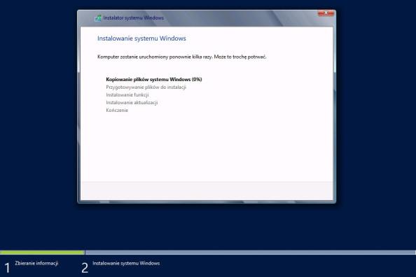 Proces instalacji systemu Windows Server 2012 został rozpoczęty