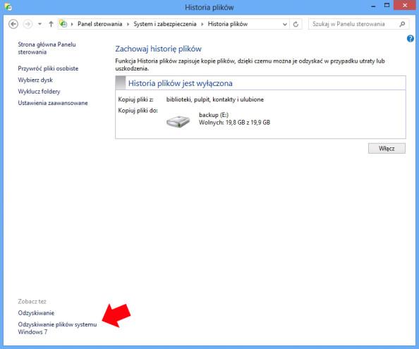 Widok zakładki odzyskiwania plików systemu Windows 7