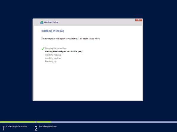 Proces instalacji systemu Windows Server 2012 R2 Preview został rozpoczęty.