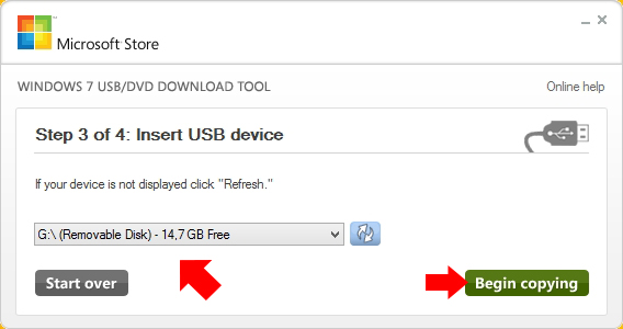 Rysunek 9. Wybór nośnika USB.