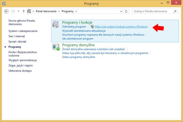 Rysunek 4. Wywołanie zakładki włączania lub wyłączania funkcji systemu Windows.