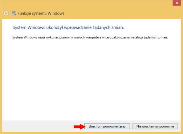 Rysunek 9. Dokończenie instalacji poprzez uruchomienie komputera.