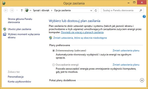 Rysunek 7. Wywołanie okna Opcje zasilania zapomocą komendy powercfg.cpl