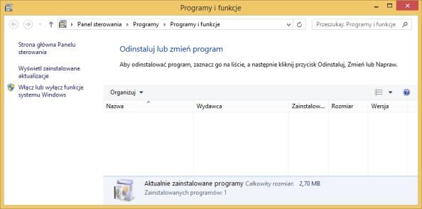 Rysunek 4. Wywołanie zakładki Programy ifunkcje zapomocą komendy appwiz.cpl