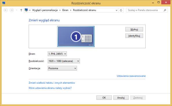 Rysunek 14. Rozdzielczość ekranu wywołana poleceniem desk.cpl