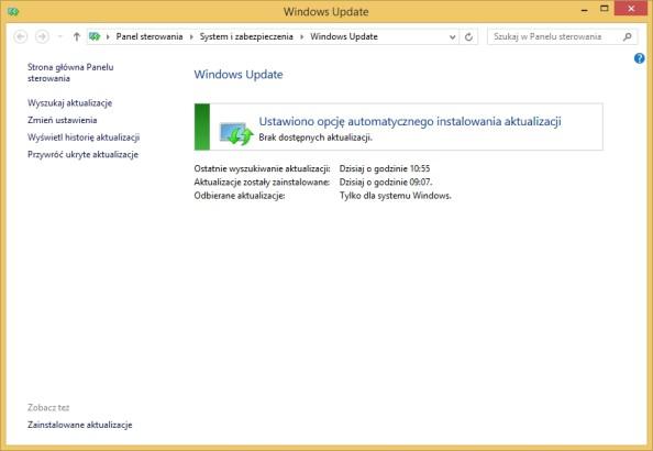Zakładka Aktualizacje systemu Windows wywołana poleceniem control wuaucpl.cpl