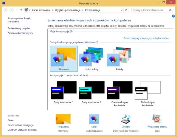 Zmianę efektów wizualnych dokonana zapomocą polecenia control.exe desk.cpl,Themes,@Themes