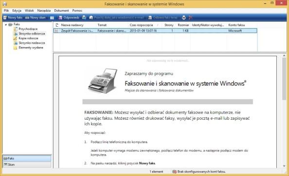 Okno faksowania iskanowania wsystemie Windows wywołane poleceniem wfs.exe