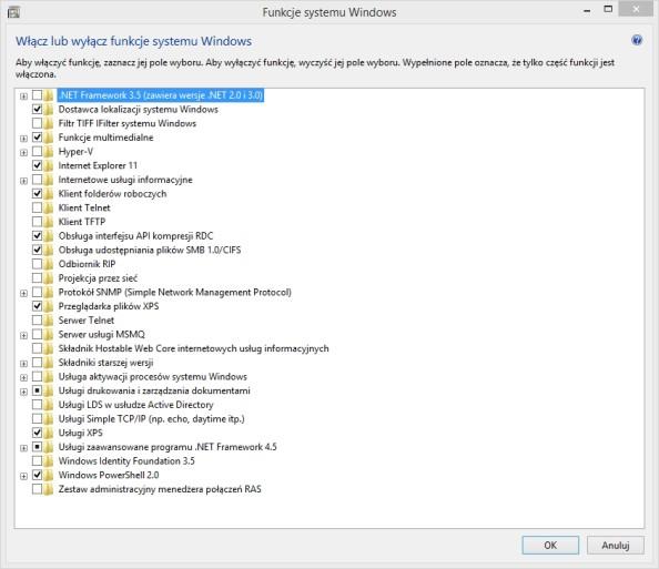 Włączanie lub wyłączanie funkcji systemu Windows wywołujemy poleceniem OptionalFeatures.exe