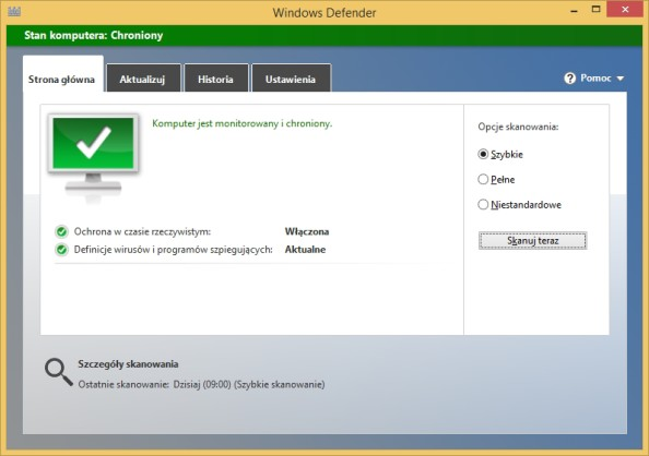 Program Windows Defender wywołany poleceniem %ProgramFiles%\Windows Defender\MSASCui.exe