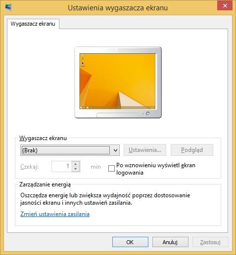Wygaszacz ekranu wywołany komendą control.exe desk.cpl,screensaver,@screensaver